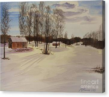 Canvas Print featuring the painting Snow In Solbrinken by Martin Howard