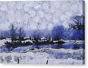Snow In Texas Van Gogh Style Canvas Print by Lorri Crossno