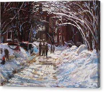 St Botolph St Canvas Print - Snow In The City by Jack Skinner