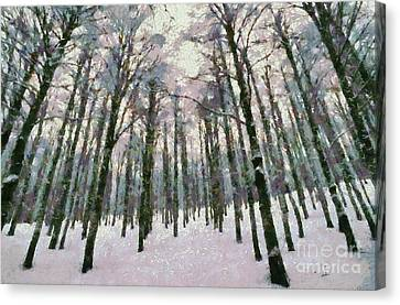 Snow In The Forest Canvas Print by George Atsametakis