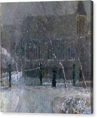 Snow In The Park Canvas Print by Malcolm Mason
