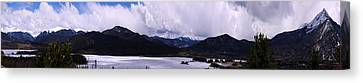 Snow Lake And Mountains Canvas Print by Maria Arango Diener