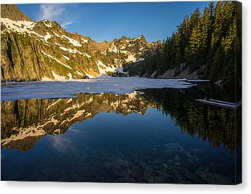Snow Lake Beauty And Beneath Canvas Print by Mike Reid