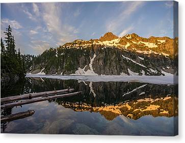 Snow Lake Morning Reflection Canvas Print by Mike Reid