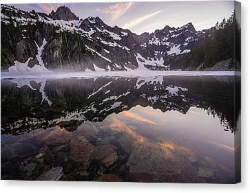Snow Lake Sunset Colors Canvas Print by Mike Reid