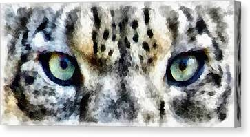 Snow Leopard Eyes Canvas Print by Angelina Vick