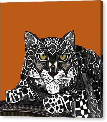 Snow Leopard Orange Canvas Print