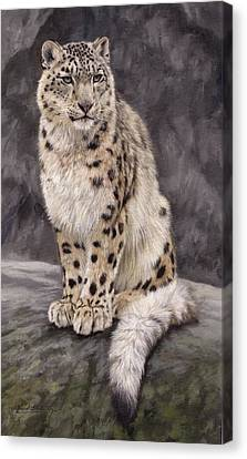 Snow Leopards Canvas Print - Snow Leopard Sentry by David Stribbling