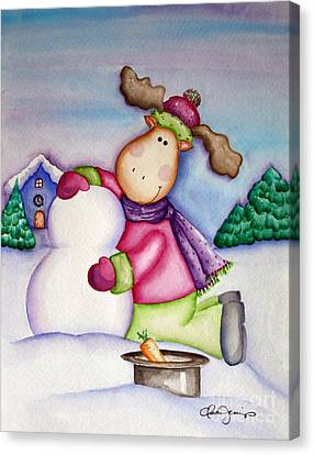 Snow Moose Canvas Print