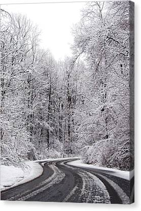 Snow On A Curvy Road Canvas Print by Tracy Winter