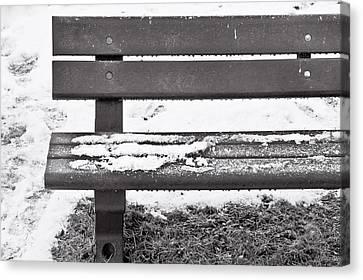 Snow On Bench Canvas Print
