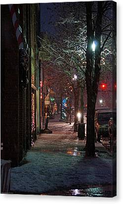 Snow On G Street 2 - Old Town Grants Pass Canvas Print by Mick Anderson