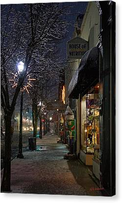 Snow On G Street 3 - Old Town Grants Pass Canvas Print by Mick Anderson
