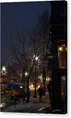 Snow On G Street 4 - Old Town Grants Pass Canvas Print by Mick Anderson