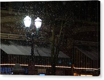 Snow On G Street In Grants Pass - Christmas Canvas Print by Mick Anderson