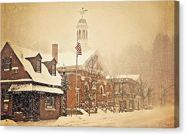 Snow On Main Street Chagrin Falls Oh Canvas Print by Dorothy Walker