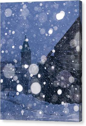 Snow On Old Quebec City Canvas Print by Arkady Kunysz