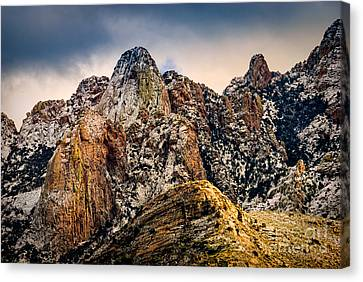 Canvas Print featuring the photograph Snow On Peaks 45 by Mark Myhaver
