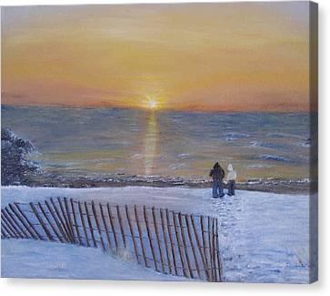 Snow On The Beach Canvas Print