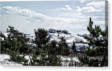 Canvas Print featuring the photograph Snow On The Dunes Photo Art by Constantine Gregory