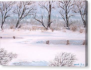 Snow On The Ema River  Canvas Print by Misuk Jenkins