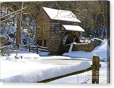Snow On The Fence Canvas Print by Paul Ward