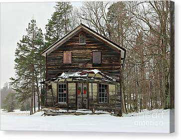 Snow On The General Store Canvas Print