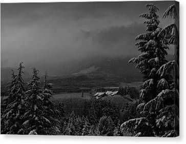 Canvas Print featuring the photograph Snow On The Horizon Bw by Timothy Latta