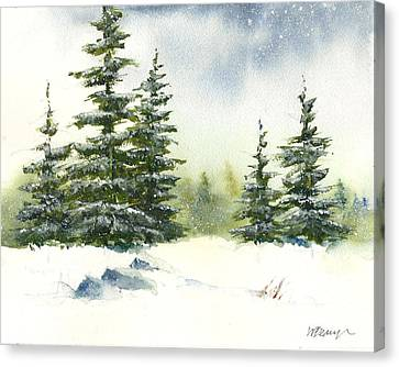 Snow On The Pines  Canvas Print