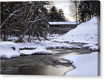 Snow On The Saco Canvas Print by Eric Gendron