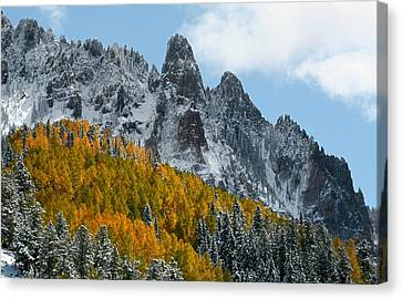 Snow On The San Juan Mountains In Autumn Canvas Print by Jetson Nguyen
