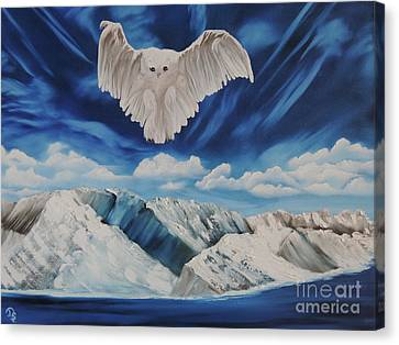 Canvas Print featuring the painting Snow Owl by Dianna Lewis
