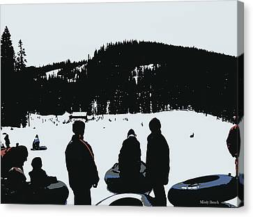 Canvas Print featuring the photograph Snow Park Fun  by Mindy Bench