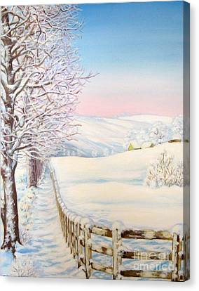 Canvas Print featuring the painting Snow Path by Inese Poga