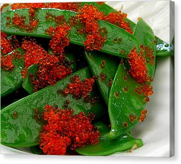 Snow Peas With Tobiko Canvas Print by James Temple