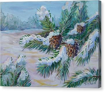 Snow Pines Canvas Print by Saga Sabin