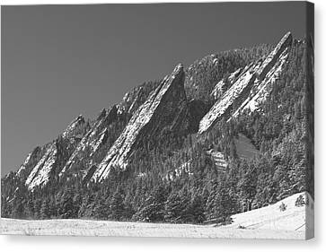 Winter Landscape Canvas Print - Snow Powder Dusted Flatirons Boulder Co Bw by James BO  Insogna