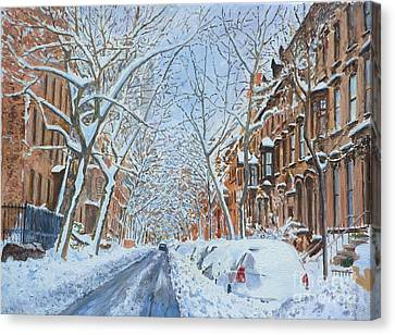 Snow Remsen St. Brooklyn New York Canvas Print