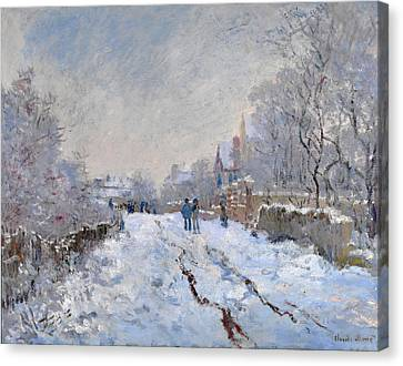 Snow Scene At Argenteuil Canvas Print by Claude Monet