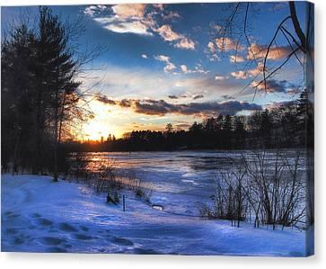 Snow Scene Holiday Card 3 Canvas Print by Joann Vitali
