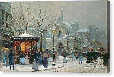 Snow Scene In Paris Canvas Print by Eugene Galien-Laloue