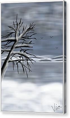 Snow Scene Canvas Print by Judy Via-Wolff