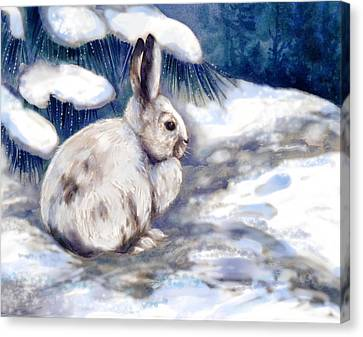 Rabbit Canvas Print - Snow Shoe Rabbit In Winter by Peggy Wilson