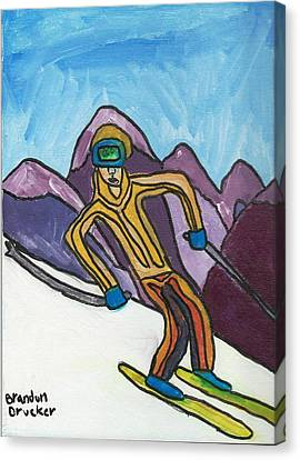 Snow Skier Canvas Print by Artists With Autism Inc