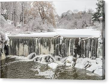 Snow Sleet And Freezing Rain On The Falls Canvas Print by Stroudwater Falls Photography