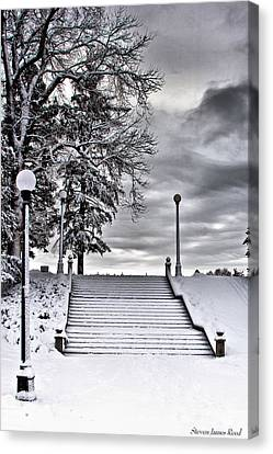 Canvas Print featuring the photograph Snow Stairs by Steven Reed