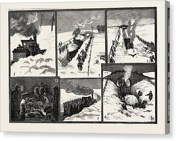 Snow Storm In The North Of England, Snow-plough Clearing Canvas Print by English School