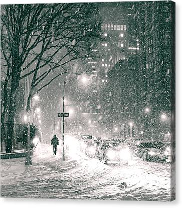 Snow Swirls At Night In New York City Canvas Print