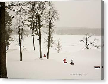 Snow Tubing In The Poconos Canvas Print