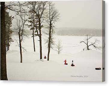Canvas Print featuring the photograph Snow Tubing In The Poconos by Ann Murphy